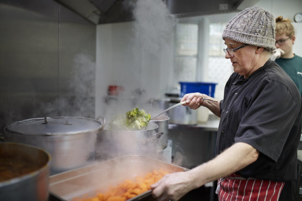 Ace of clubs cook with surplus food from Tesco as part of FareShare FoodCloud scheme
