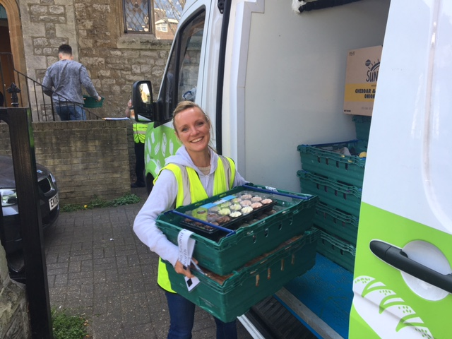 Corporate volunteer Isabel delivers surplus food that would otherwise go to waste to No Second Night Out