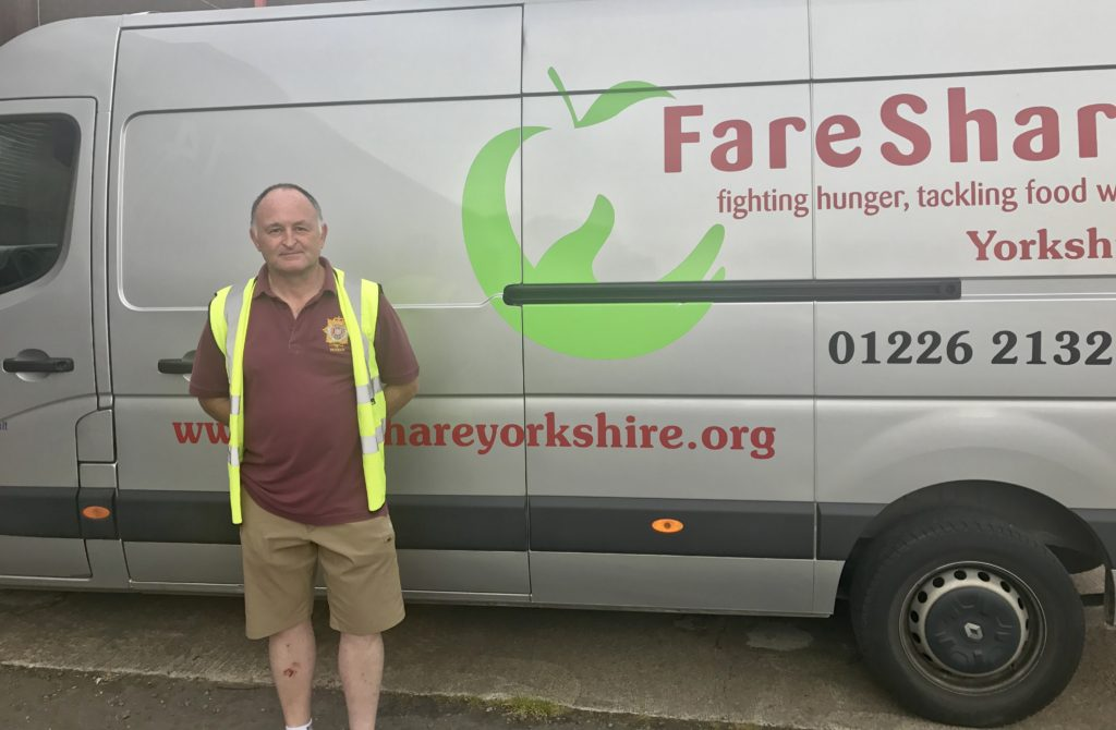 Volunteer Andy in Yorkshire and Barnsley delivering surplus food which would otherwise go to waste to charities