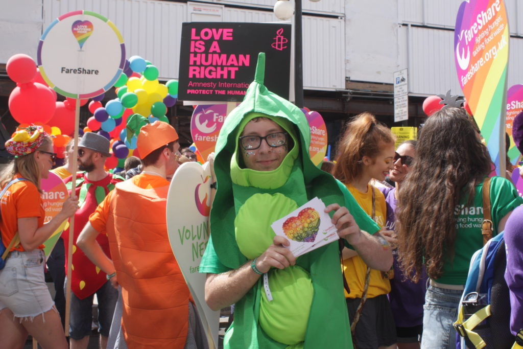Tommy from FareShare at the Pride in London Parade