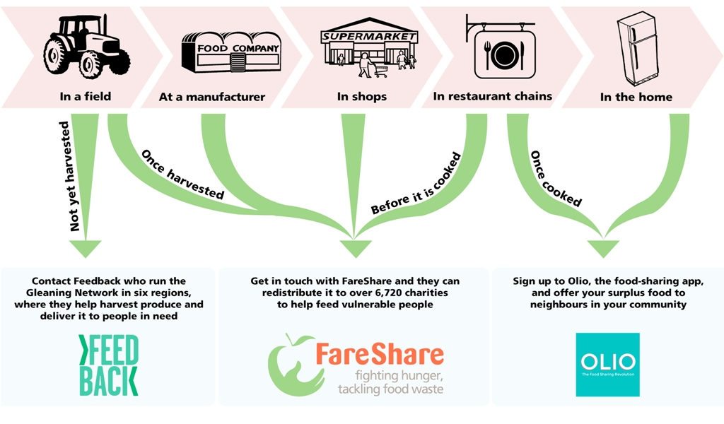 What should I do with my surplus food diagram? If you have surplus food in a field, send it to Feedback, if you are a manufacturer, a shop or restaurant send it to FareShare. If you have surplus food in your home or restaurant send it to Olio. By doing this you can stop food waste.