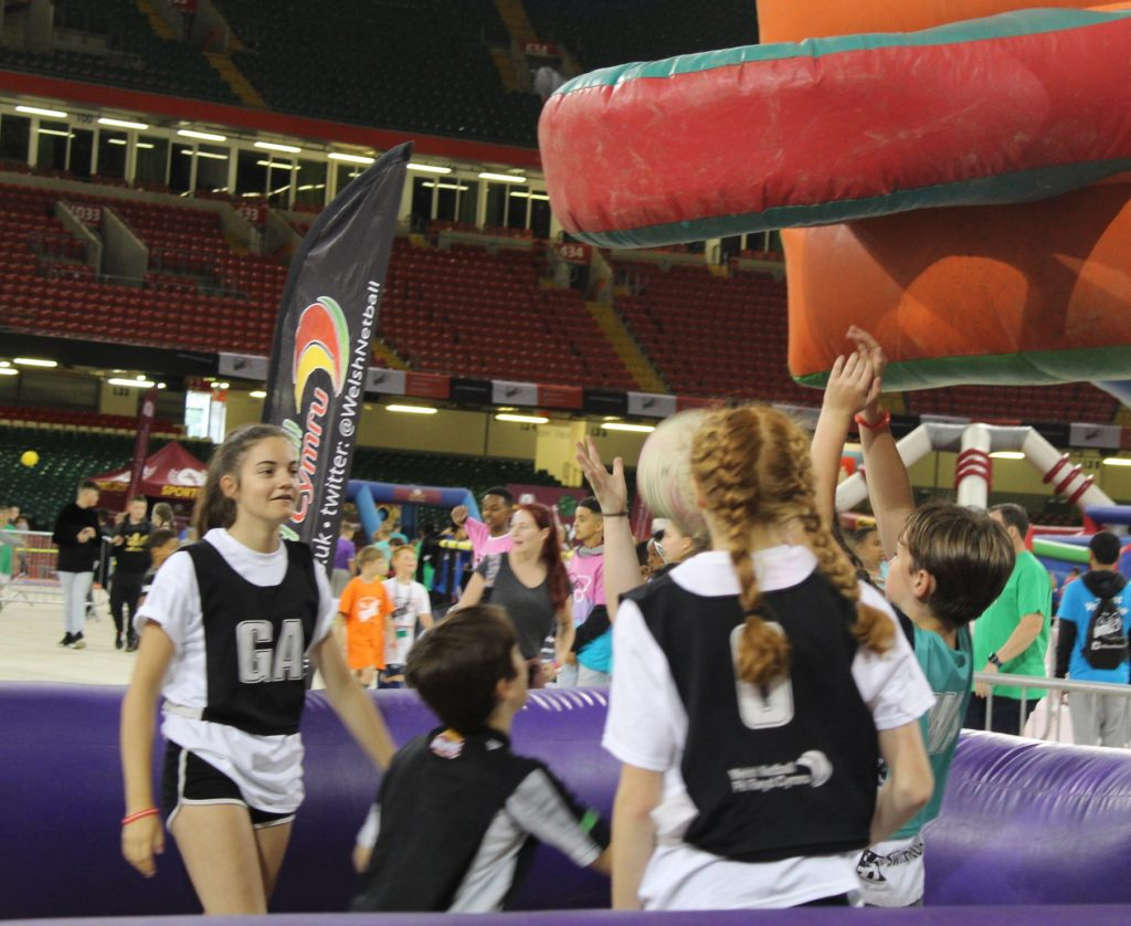 Inflatable netball was just one of the games on offer at the festival.